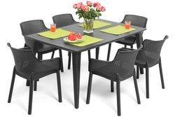 Meble ogrodowe stół LIMA i 6 krzeseł EVA - grafitowe