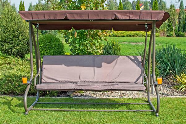 Duża huśtawka ogrodowa rozkładana GRACJA - jasny brąz