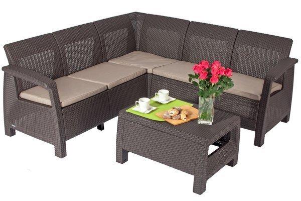 Duży narożnik ogrodowy CORFU Relax + stoliczek kawowy - brązowy