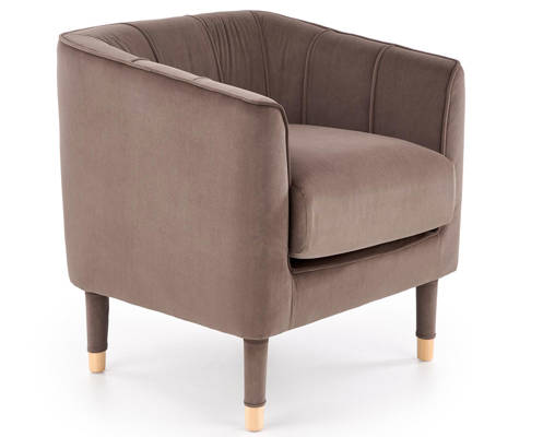 Fotel tapicerowany BALTIMORE retro- ciepły szary