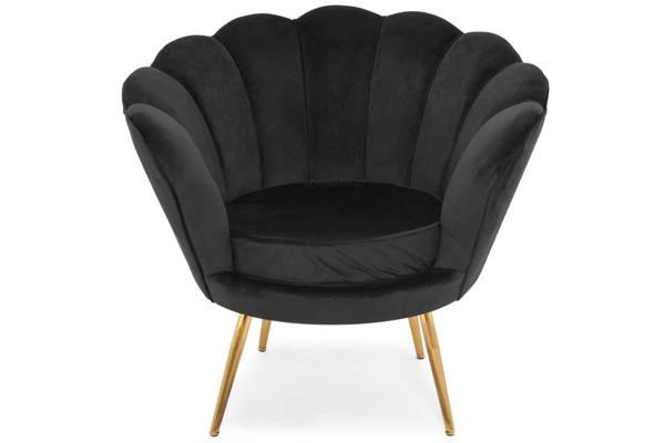 Fotel tapicerowany Glamour MUSZLA AMORINO GOLD - czarny