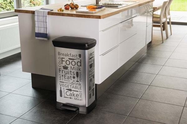 Kosz na śmieci metalizowany CURVER DECOBIN Kitchen srebrny 50L