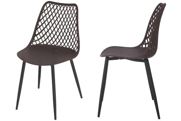 Krzesło ażurowe do jadalni SIENA - brązowe