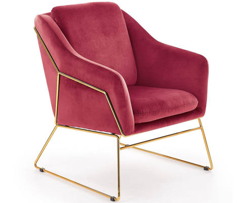 Krzesło fotel do salonu loft SOFT GOLD - bordowy