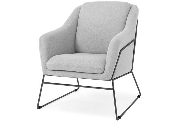 Krzesło fotel do salonu loft SOFT - czarny stelaż - popielaty