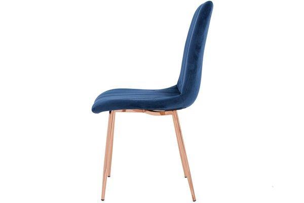 Krzesło tapicerowane welurowe SOFIA granatowe