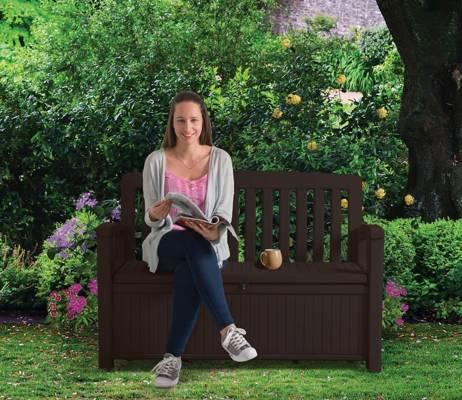Ławka ogrodowa ze skrzynią PATIO BENCH 227 l - brązowa