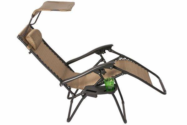Leżak ogrodowy Zero Gravity ARUBA z daszkiem - brązowy