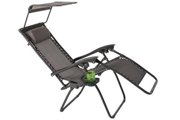 Leżak ogrodowy Zero Gravity ARUBA z daszkiem - grafitowy