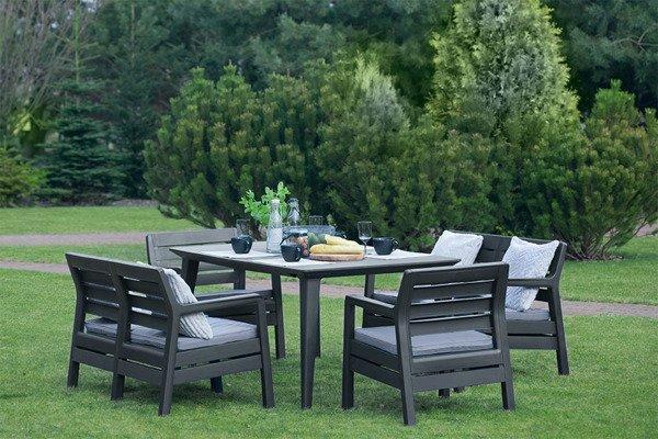 Meble ogrodowe DELANO + stół LIMA zestaw 6-osobowy - grafitowy