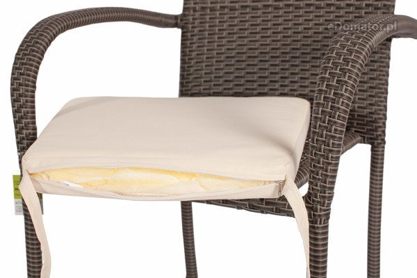 Meble ogrodowe z technorattanu MALAGA stół 90 cm i 4 krzesła - brązowe
