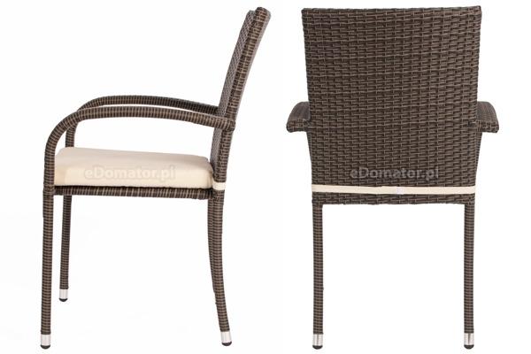 Meble ogrodowe z technorattanu MALAGA stół i 6 krzeseł - brązowe