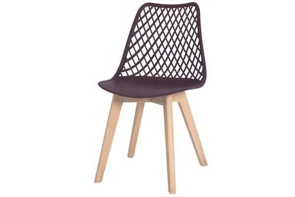 Nowoczesne ażurowe krzesło do jadalni NICEA - brązowe