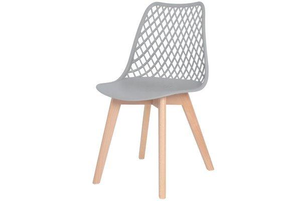 Nowoczesne ażurowe krzesło do jadalni NICEA - szare