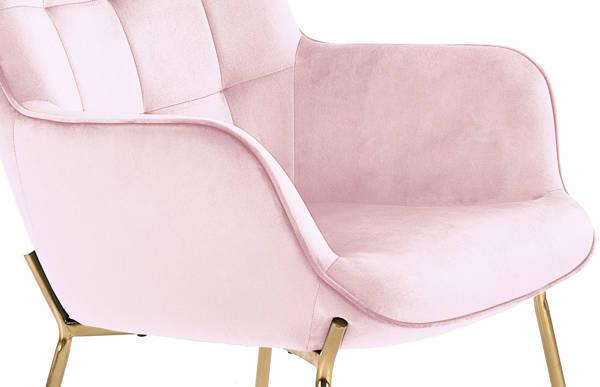 Nowoczesny fotel LOFT CASTEL 2 ze złotymi nóżkami - jasny róż