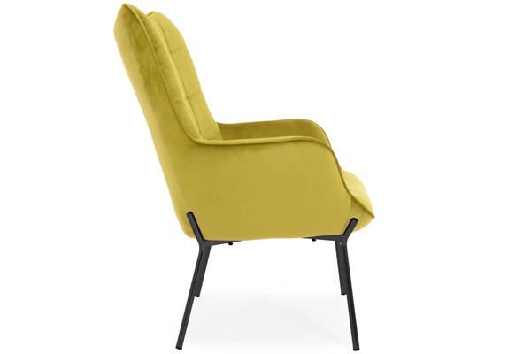 Nowoczesny pikowany fotel LOFT CASTEL - musztardowy