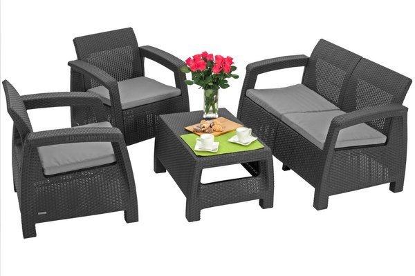 Ogrodowy stolik kawowy podnóżek CORFU - grafitowy