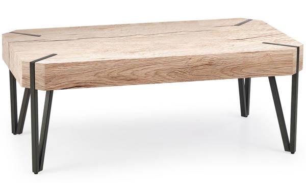 Prostokątny niski stolik EMILY dąb san remo / czarny