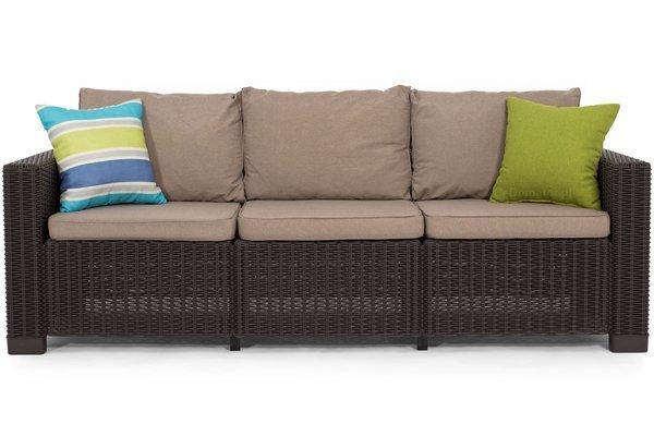 Sofa ogrodowa CALIFORNIA 3-osobowa - brązowa
