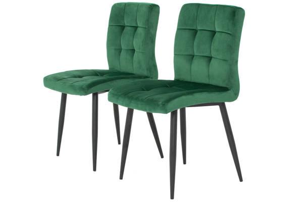 Stół PORTLAND (200/160x90) i 6 krzeseł DIANA - komplet mebli do jadalni - szary + zielony