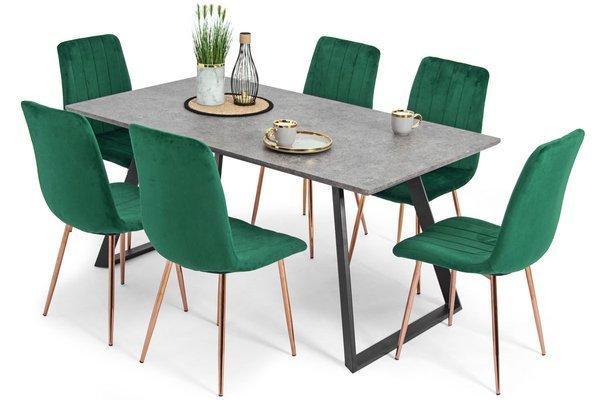 Stół PORTLAND (200/160x90) i 6 krzeseł SOFIA - komplet do jadalni - szary + zielony