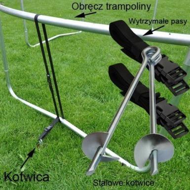 TRAMPOLINA OGRODOWA z siatką o średnicy 374 cm 12 FT