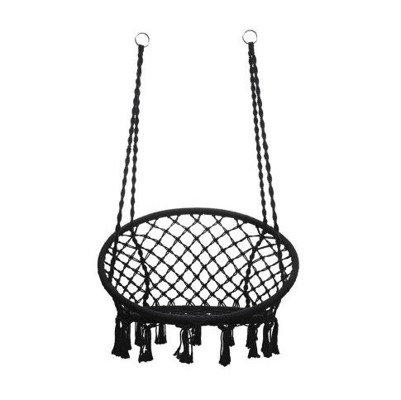 huśtawka fotel BOCIANIE GNIAZDO z oparciem - czarny 80 cm XL